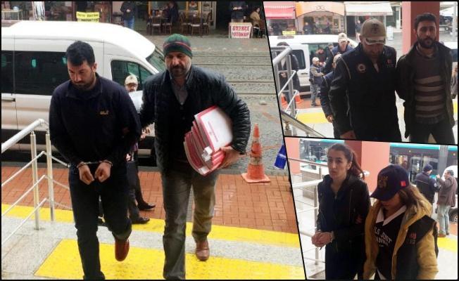 Mehter marşı ile adliyeye getirilen şüpheliler tutuklandı
