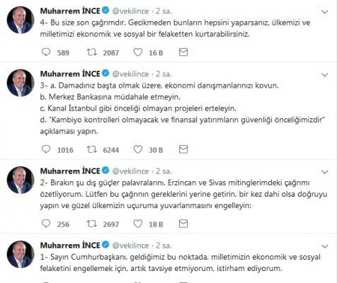 İnce'den Erdoğan'a Twitter'dan Rica!