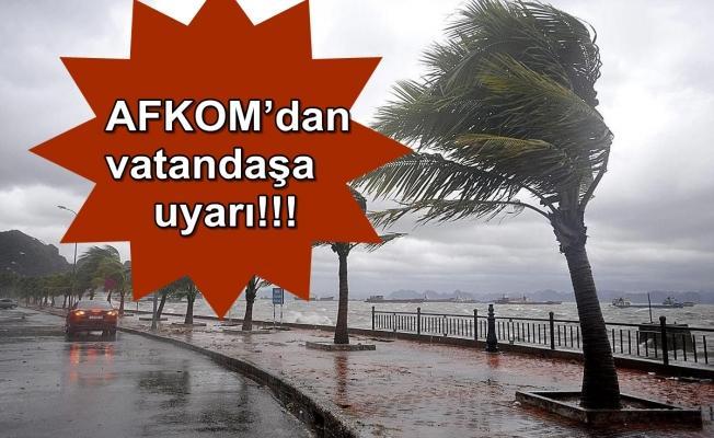 Rüzgar ve yağışa dikkat!