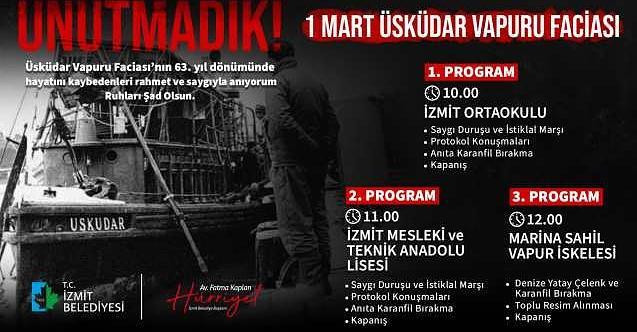İzmit Belediyesi Üsküdar Vapuru faciasında yitirdiklerimizi anacak